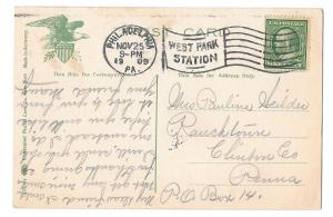 Philadelphia PA Walnut Lane Bridge Postcard 1909 West Park Station Flag Cancel
