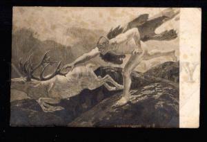 026293 Running NUDE Man & Deer by SCHINDLER vintage postcard