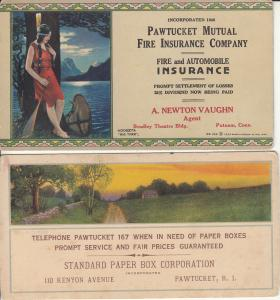 Pawtucket Mutual Fire Insurance Company Fire & Automobile advertising card 1924