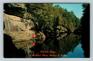 Pottersville NY- New York, Artists Gorge, Natural Stone Bridge, Chrome Postcard