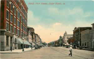 Cedar Rapids Iowa~First Avenue~People's Clothing~Savings Bank~1910 Postcard