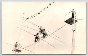 Real Photo Postcard~Circus Performers~Bicycle High Wire Act~Chair Top~1950s RPPC