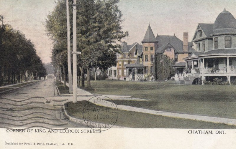 CHATHAM, Ontario, Canada, PU-1907; Corner Of King And Lecroix Streets