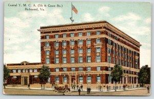 Richmond Virginia~Central YMCA~7th & Grace Street~Folk in Front~Vintage Car~1910