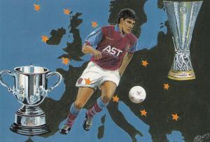 Aston Villa European Football Club 1990s Cup Painting Artist Postcard