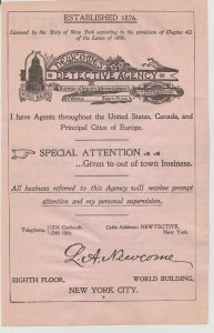 Newcome's Detective Agency 1899 Print Ad, World Bldg, 8th Fl, NY
