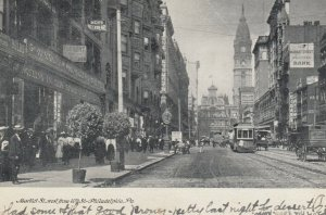 PHILADELPHIA, PA, 1908; Market St. west from 10th St., Store Fronts, Trolley