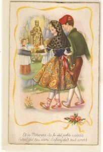 Young Catalan couple and the Montserrat Virgin Vintaqge Spanish postcard