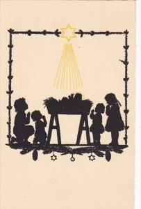 Silhouette Postcard Star Shining On Children and Manger