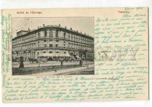 401554 POLAND WARSZAWA Europe Hotel 1902 year RPPC to FINLAND
