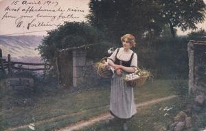 Woman carrying a basket of chickens and eggs, 00-10s