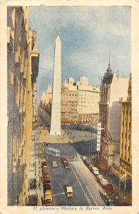 Argentina El pintoresco Obelisco de Buenos aires, cars, bus, auto 1960