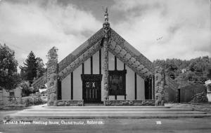 Rotorua New Zealand Tamate Kapua Meeting House real photo pc Y15072