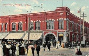 F48/ Kalispell Montana Postcard 1909 Conrad Block Crowd Stores