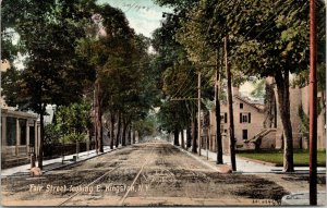 Kingston New York~Looking East on Fair Street~Homes~Church~Fence~1905 Postcard