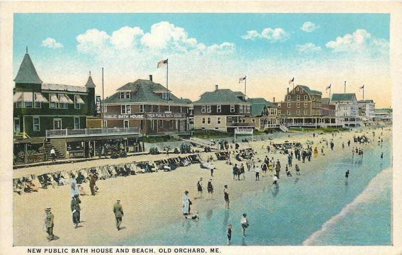 Old Orchard Beach Maine~Beach~Public Bath House~Concessions~Hotels~1920s PC