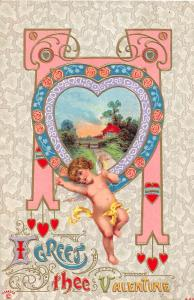 C78/ Valentine's Day Love Holiday Postcard 1911 Cupid Gold-Lined Cupids 27
