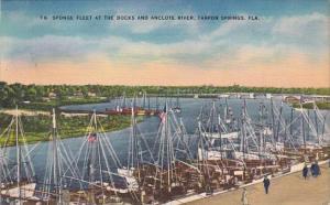 Florida Tarpon Springs Sponge Fleet At The Docks And Anclote River 1953