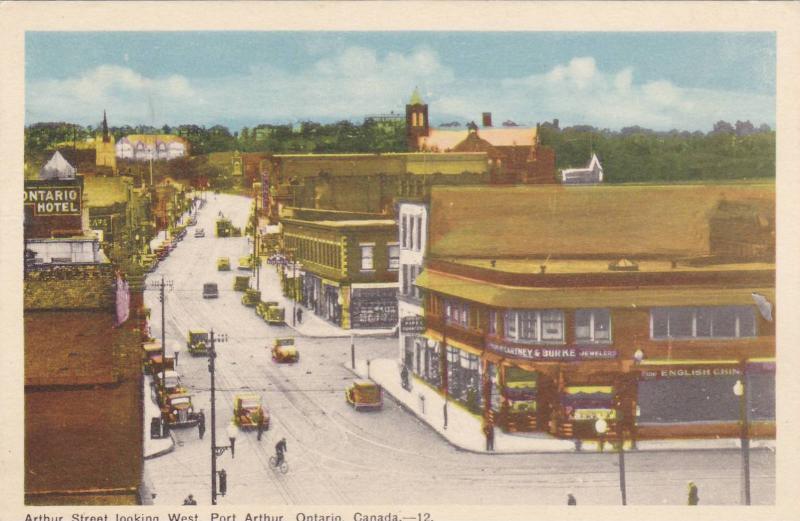 Arthur Street Looking West, Ontario Hotel, Cartney & Burke Jewelers, Port Art...