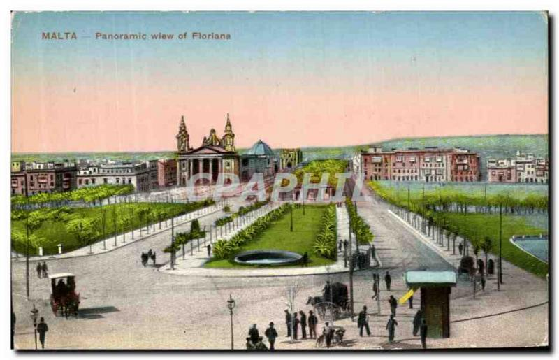 VINTAGE POSTCARD Panoramic Wiew Of Floriana Malted