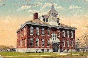 Iola Kansas~Washington School~Neighborhood Homes~1915 Postcard