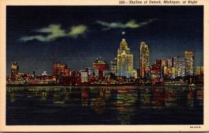 Michigan Detroit Skyline At Night Curteich