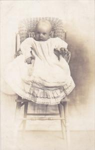 Young Child in High Chair early 1900s Real Photo