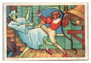 Hans Kicks Kuster Ghost Down Tower Stairs, Echte Wagner German Trade Card *VT31A