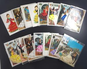 Job Lot of 16 Spanish Embroidered Cards- Traditional Costume, Appliqué Fabric