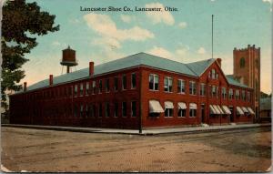 Lancaster Ohio~Lancaster Shoe Co Factory~Plant Water Tower~c1912 Postcard