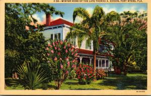 Florida Fort Myers Thomas A Edison Winter Home Curteich