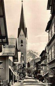Oberstdorf Kirchstrasse Street Church Tower Clock Postcard