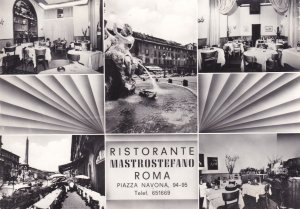 Ristorante Mastrostefano Roma Piazza Navona Real Photo Advertising Postcard