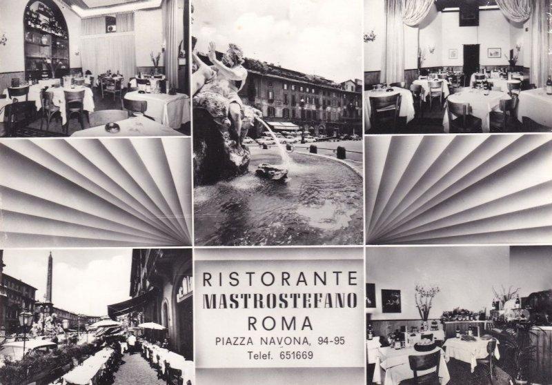 Ristorante Mastrostefano Roma Piazza Navona Real Photo Advertising Postcard