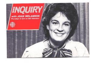 Joan Melanson, Inquiry, CBC, Canada Vintage Postcard