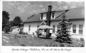 Wellsboro Pennsylvania Garden Cottages Patio Real Photo Antique Postcard K68794