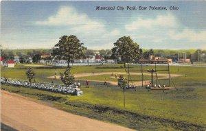 East Palestine Ohio 1940s Postcard Municipal City Park BASEBALL FIELD