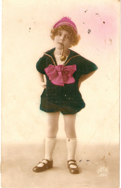 Pretty little girl. Smoking pipe Curious old vintage French postcard