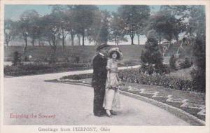 Ohio Greetings From Pierpont Romantic Couple Enjoying The Scenery 1917