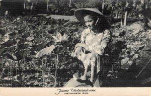 JEUNE VIETNAMIENNE Vietnamese Girl, Flowers VIETNAM RPPC Vintage Postcard
