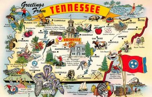LPM46 Tennessee Map Chrome Postcard Volunteer State