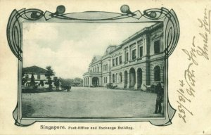 straits settlements, SINGAPORE, Post-Office and Exchange Building 1904 Postcard