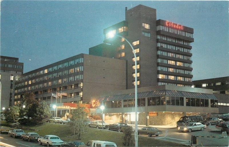 Halifax Nova Scotia Canada~Citadel Inn~Night Lights~1970s Cars~Postcard
