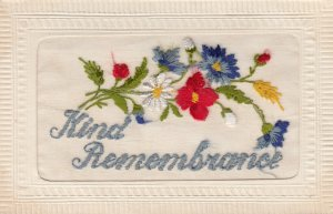 EMBROIDERED, 1900-10s; Kind Remembrance, Red, White & Blue Flowers