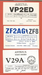 QSL AMATEUR RADIO CARDS – CARIBBEAN NATIONS – 3 DIFFERENT – 1982-1988 (2)