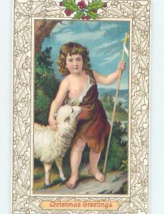 Pre-Linen christmas SHEPHERD BOY WITH BABY LAMB HL0219