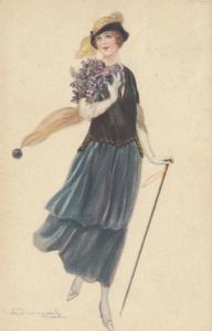 BOMPARD ; Art Deco Female Portrait  , 1910s #6