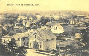 Marshfield MA Birdseye View in 1908 Postcard