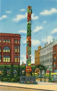 Seattle Washington Native American Totem Pole Pioneer Square Curteich Postcard