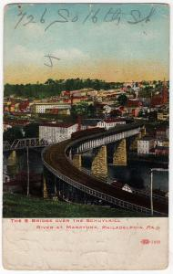 1908 Manayunk Philadelphia PA The S RR Bridge Over Schuylkill River DB Postcard